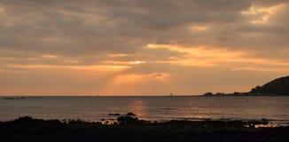 Solnedgång i den Jeju ön, Sydkorea Fotografering för Bildbyråer