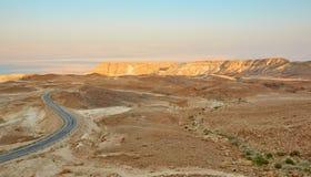 Solnedgång i den Judean öknen, Israel Royaltyfria Bilder