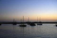 Solnedgång i den Morro fjärden Fotografering för Bildbyråer