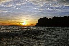 Solnedgång i den Railay stranden thailand Fotografering för Bildbyråer
