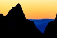 Solnedgång i den stora krökningen texas USA för chisoshandfat Arkivfoto