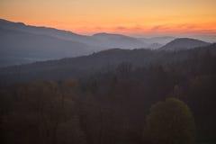 Solnedgång i den svarta skogen, Tyskland Arkivbilder