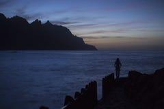 Solnedgång i Tenerife Fotografering för Bildbyråer