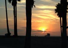 Solnedgång i den Venedig stranden, Los Angeles Arkivfoton