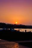 Solnedgång i den Yalova marina Arkivbilder