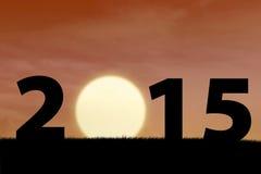 Solnedgång i det börjande året av 2015 Fotografering för Bildbyråer