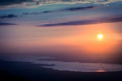 Solnedgång i det Kartepe berglandskapet kalkon Royaltyfri Fotografi