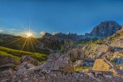 Solnedgång i Dolomites, Veneto, Italien Royaltyfria Bilder