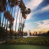Solnedgång i Echo Park Royaltyfri Fotografi