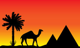 Solnedgång i Egypten stock illustrationer