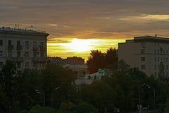Solnedgång i en storstad Royaltyfria Foton