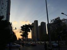 Solnedgång i ett orientaliskt land arkivfoton