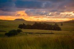 Solnedgång i fälten av påskön arkivfoton