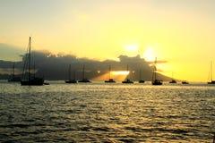 Solnedgång i fjärden Arkivbilder