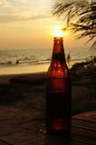 Solnedgång in i flaskan Arkivbild