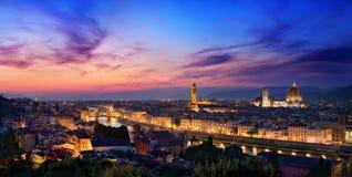 Solnedgång i Florence Arkivbilder