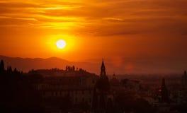 Solnedgång i Florence Royaltyfri Foto