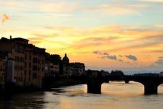 Solnedgång i Florence Arkivbild