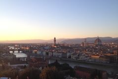 Solnedgång i Florence Italy arkivbilder