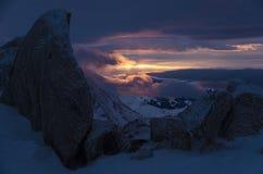 Solnedgång i franska fjällängar, Chamonix Royaltyfri Fotografi