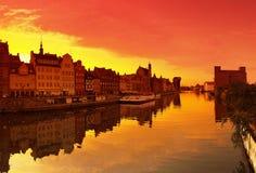 Solnedgång i Gdansk Royaltyfri Foto
