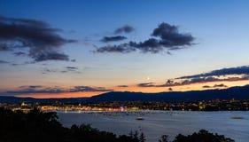 Solnedgång i Genève Royaltyfri Foto
