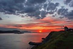 Solnedgång i Getxo Royaltyfria Foton