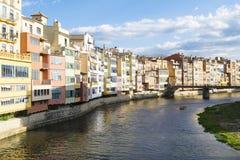 Solnedgång i Girona Royaltyfria Bilder