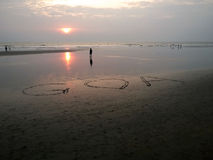 Solnedgång i Goa royaltyfri fotografi