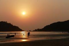 Solnedgång i Goa Royaltyfri Foto