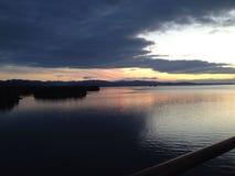 Solnedgång i Greys Arkivbilder