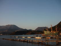 Solnedgång i Hakone, Japan Royaltyfri Bild