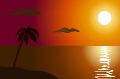 Solnedgång i hav Royaltyfri Fotografi