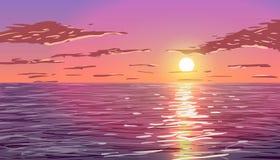 Solnedgång i hav Arkivbild