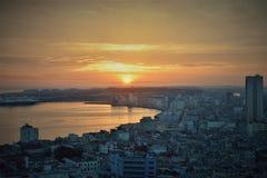 Solnedgång i Havana arkivfoto