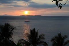 Solnedgång i havet Fotografering för Bildbyråer