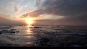 Solnedgång i havet bland isberg och is i arktisk arkivfilmer