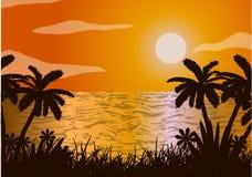 Solnedgång i havet, strand, palmträd Arkivbild