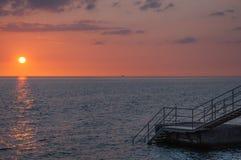 Solnedgång i Helsingborg royaltyfri bild