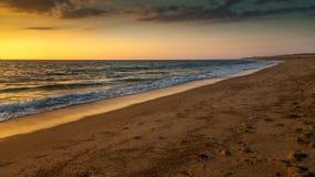 Solnedgång i Hossegor Royaltyfri Bild