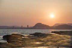 Solnedgång i HuertasÂ'sens lock, Alicante, Spanien Royaltyfria Bilder