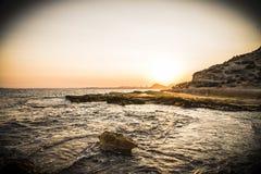 Solnedgång i HuertasÂ'sens lock, Alicante, Spanien Arkivfoto