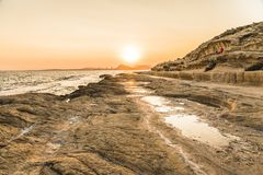 Solnedgång i HuertasÂ'sens lock, Alicante, Spanien Arkivbilder