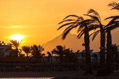 Solnedgång i Hurghada, Egypten Arkivfoton