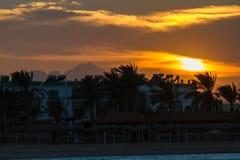 Solnedgång i Hurghada, Egypten Arkivbild