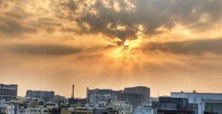 Solnedgång i Hyderabad arkivfoton