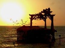 Solnedgång i Ica royaltyfria foton