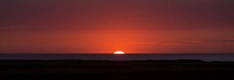 Solnedgång i Island Arkivbilder