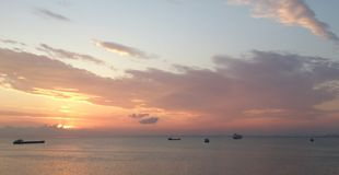 Solnedgång i Izmir Royaltyfria Foton