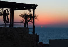 Solnedgång i Jaffa. Arkivbilder